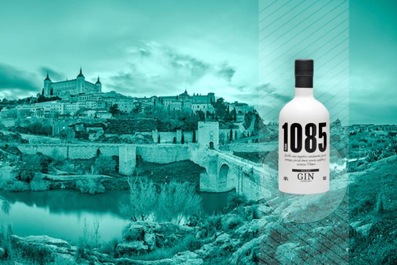 vistas toledo botella gin 1085 compromiso 1085 patrociinio, ginebra hecha con cerveza, ginebra toledana, ginebra de Toledo